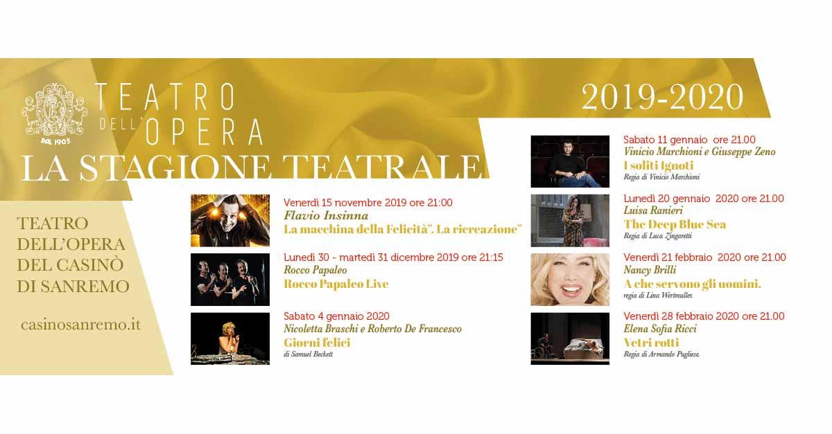 Stagione Teatrale 2019/2020 del Casinò di Sanremo, il calendario completo.