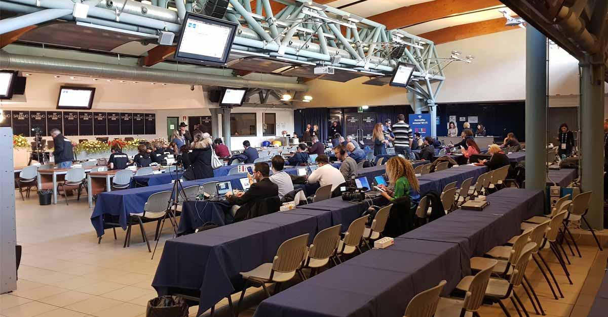 Città di Sanremo in sala stampa per il Festival: giorno 1